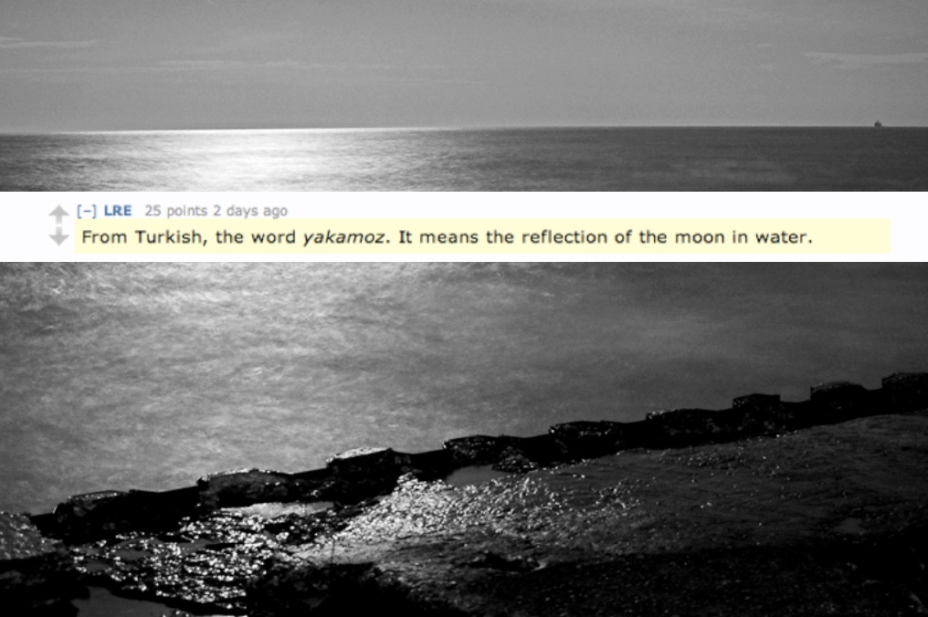 From Turkish, the wordyakamoz. It means the reflection of the moon in water.