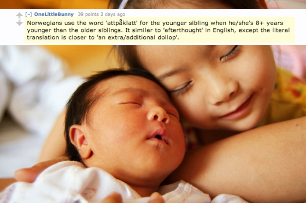 Norwegians use the word 'attpåklatt' for the younger sibling when he/she's 8+ years younger